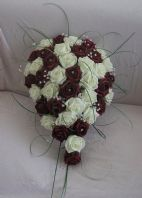 ARTIFICIAL WEDDING FLOWERS IVORY BURGUNDY FOAM ROSE BRIDE TEARDROP BOUQUET
